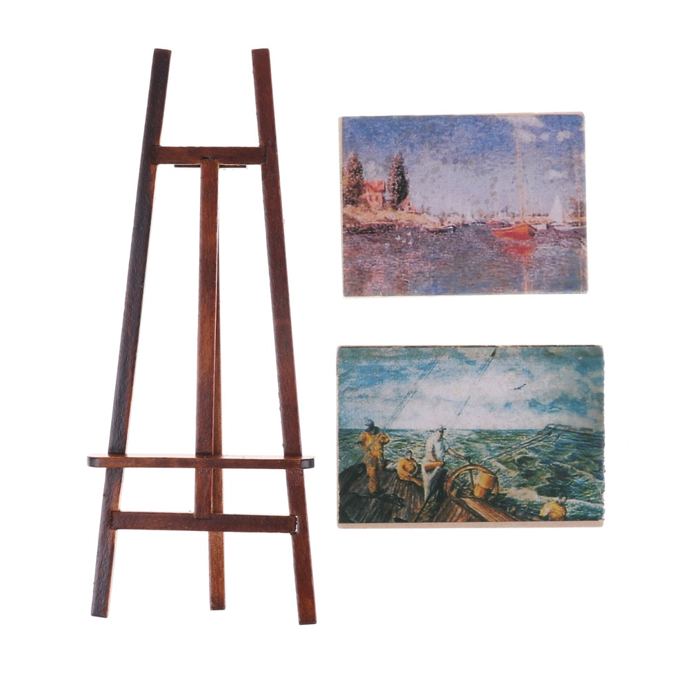 1 Set Artist Easel Stand & 2 Wood Paintings Pictures Mini Artist Easel Wood Wedding Table Card Stand Display Holder Decoration kicute wood artist easel wedding table number place name card photos stand display holder diy party table tools