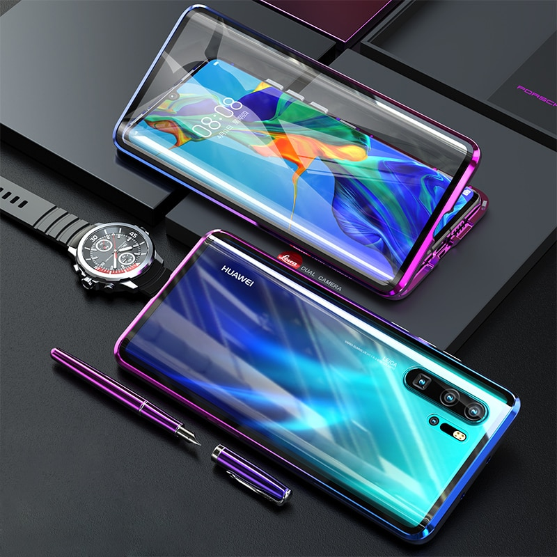 Magnético metal duplo lado vidro caso do telefone para huawei companheiro 20 30 p40 p30 pro capa de corpo inteiro para honra 10 9x nova 4 5 capa traseira