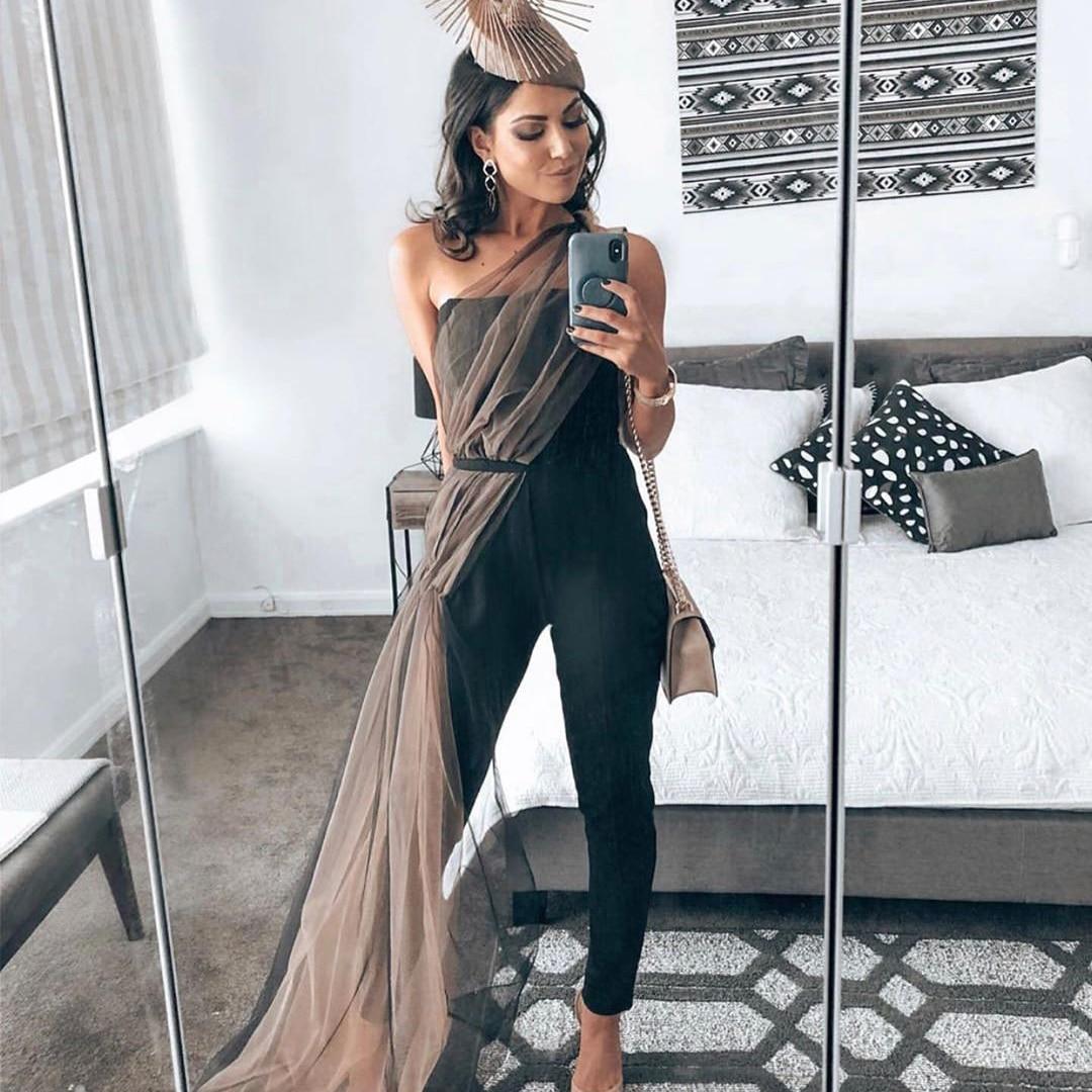 Mono sexy negro liso elegante de malla para mujer 2020 sin tirantes halter para fiesta de noche mono Ceñido