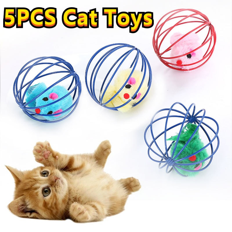 5PCS Cat Toys Self-help Toys New Candy-colored Cat Toy Cage Rat Pet Interactive Training Supplies Color Random Colors Cat Toys