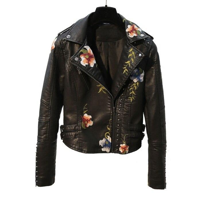2020 ew Korean slim black rivet embroidery washing motorcycle leather coat women's short Pu jacket  faux leather jackets women enlarge