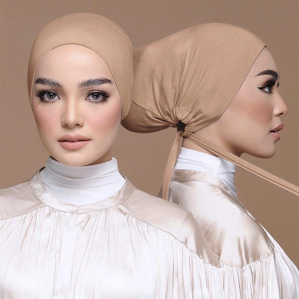 Внутренняя шапка для хиджаба, мусульманский тюрбан, мусульманский Регулируемый нижний шарф, под шапку, шапка, Мягкий трикотажный эластичны...