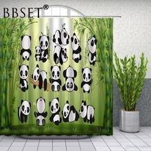 Linda Cortina de ducha de Panda de dibujos animados divertido patrón de bambú verde Animal impermeable Multi-tamaño Douchegordijn niños decoración de baño
