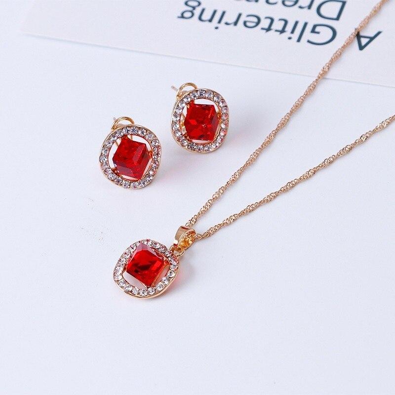 Regalos para mujeres, joyería india de moda, collar cuadrado de cristal, pendientes para fiesta, accesorios de joyería para mujeres, conjuntos de joyas nupciales