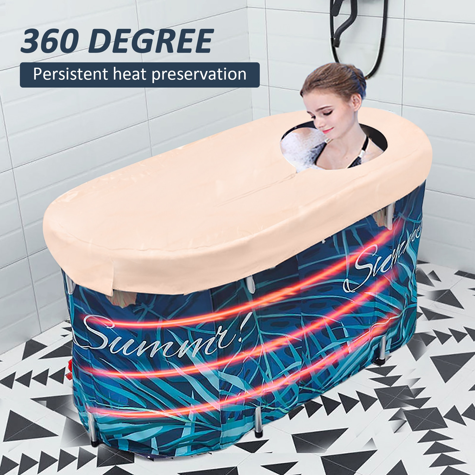 Folding Bathtub for Adults Baby Mobile Bathtub with Thermostatic Cover Portable Large Household Bath Barrel Bathroom Supplies enlarge