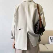 Double Breasted Oversized Black Blazer Women's 2021 Spring Autumn Drape Solid Color Loose Suit Jacke