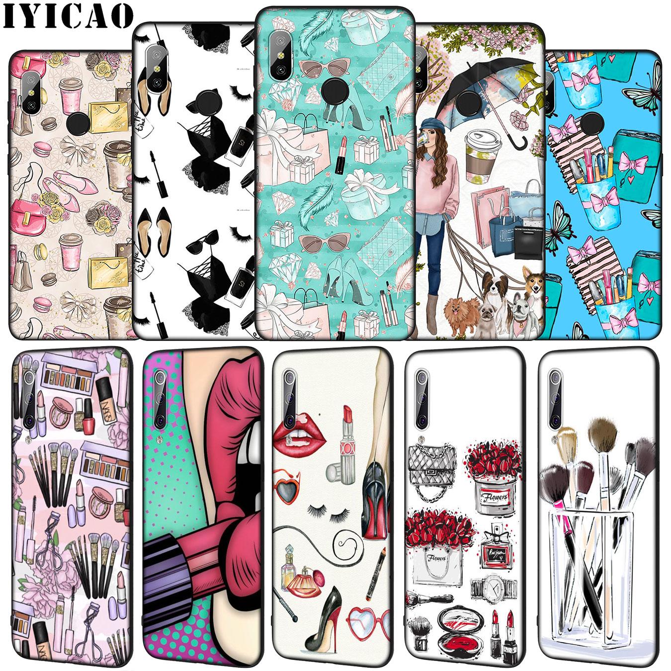 IYICAO labial de maquillaje Perfume de silicona suave funda de teléfono para Xiaomi mi 10 9 9T A3 Pro 8 SE A2 Lite A1 CC9 CC9E 6 teléfono móvil f1 mi 10