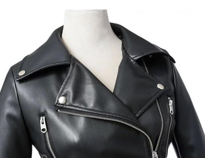 Spring autumn leather jacket women motorcycle short coat mujer casacas para chamarras de veste femme jaqueta couro korean black enlarge