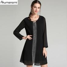 Automne robe drapée femmes vêtements noir col rond manches courtes perles robe de haute qualité mode grande taille 5XL 4XL 3XL 2XL XL L M
