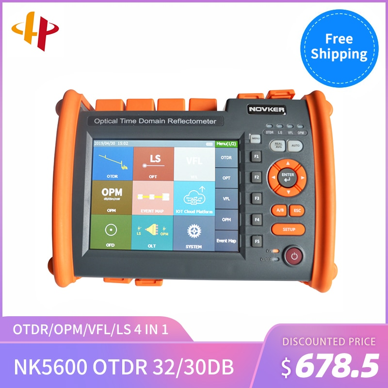 NK5600-SM-OTDR-1310-1550nm-30/32dB Novker Handheld Integrierte VFL 5MW Touchscreen OTDR