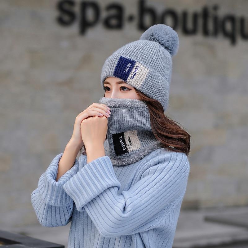 Fashion Winter hat and Ring Scarf Set Warm Women Thicken Winter Set Female Hats ring Scarves Unisex Beanie hat keep warm