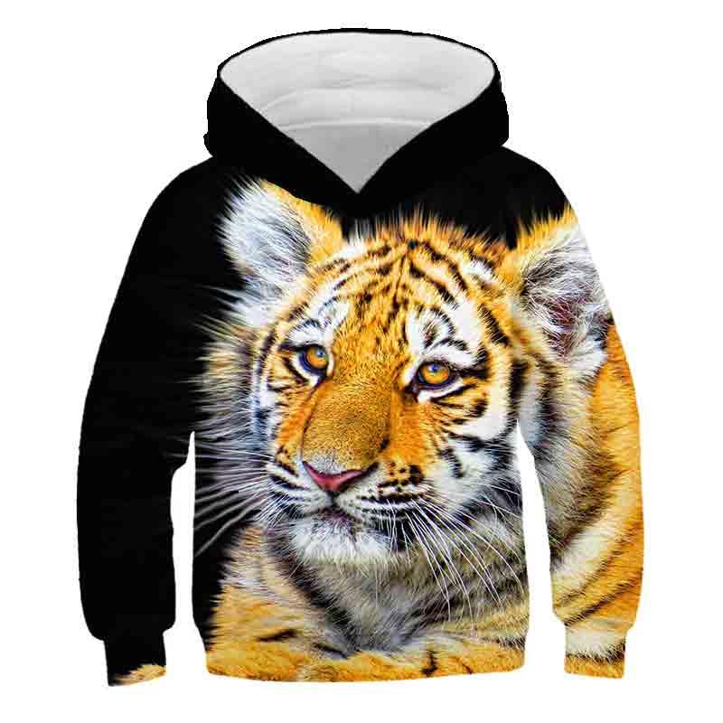 Tigre feroz 3d meninos hoodies crianças meninos/meninas camisolas finas chapéu animal tigre hoodies para meninas adolescentes moletom casacos