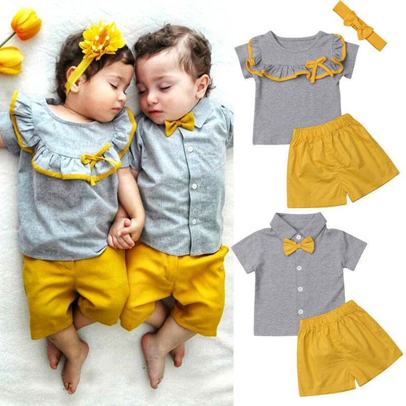 Goocheer hermana hermano ropa de verano bebé niña niño Camiseta de manga corta Tops + Pantalones cortos Hermanos a juego niños gemelos trajes