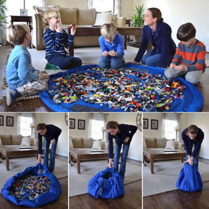 Venda quente 150cm portátil crianças brinquedo saco de armazenamento e jogar esteira brinquedos lego organizador bin box xl moda prática organização armazenamento