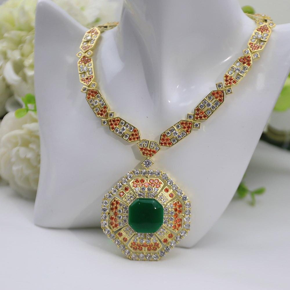 Luxury Fashion Luxury Women Necklace Green Main Stone Orange Embellishment Party Party Popular Jewelry Brand 2021 New Pattern
