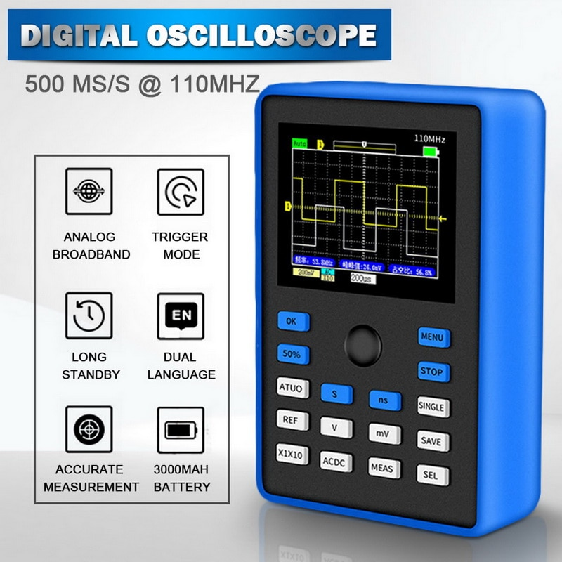 Osciloscopio Digital profesional 500 MS/s tasa de muestreo 110MHz soporte de ancho de banda analógico Almacenamiento de onda osciloscopio de mano