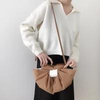 women casual mini shoulder messenger bags sweet female purse handbags cute contrast color bowknot ladies small crossbody bag