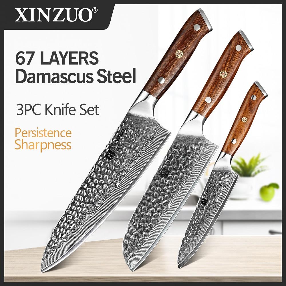 XINZUO 3 قطعة سكاكين المطبخ مجموعات اليابانية VG 10 دمشق الصلب سكين الشيف Gyuto سكين الفولاذ المقاوم للصدأ الساطور