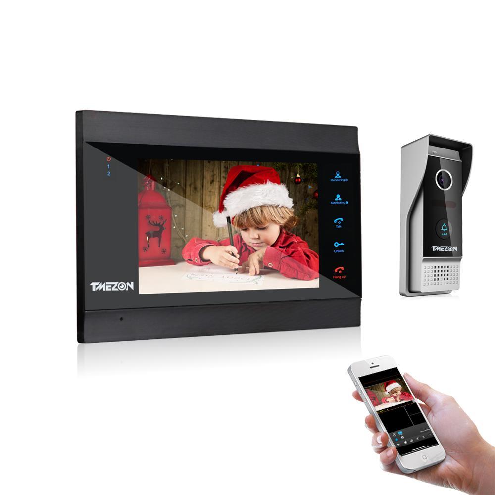 TMEZON בית אינטרקום מערכת אלחוטי WiFi חכם IP וידאו פעמון 7 אינץ עם 1x1200TVL Wired דלת טלפון מצלמה