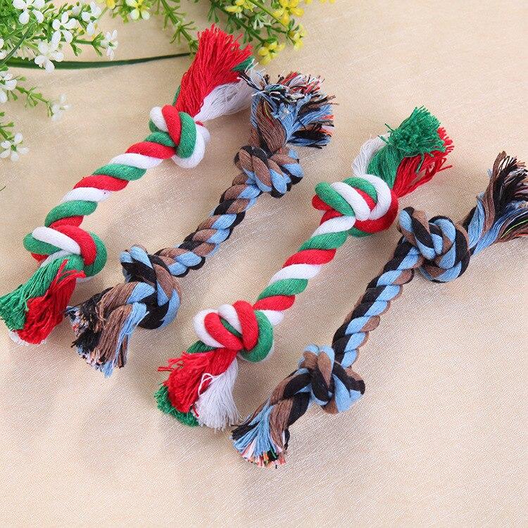 Color al azar divertido algodón de juguetes para mascotas de cuerda, suministros para mascotas mascota la mordedores de juguete para perros y duradero hueso cuerda
