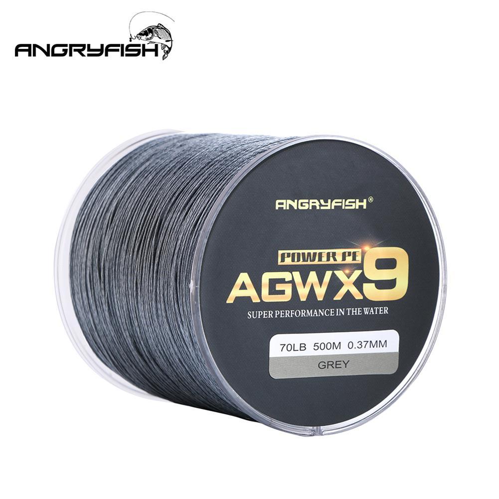 ANGRYFISH Diominate X9 PE Linie 9 Stränge Spinnt Geflochtene 500 m/547yds Super Starke Angelschnur 15LB-100LB Grau
