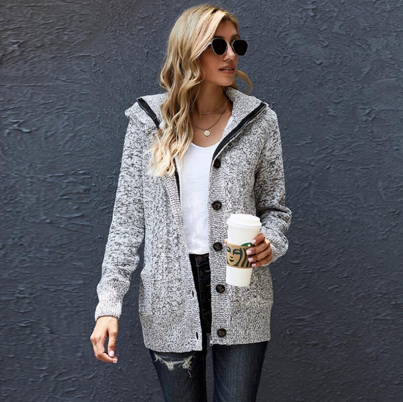 Luxury Fashion Autumn/Winter Single Row Button Loose Women's Sweater Plus Fleece Hooded Sweater Coat Suéter Feminino enlarge
