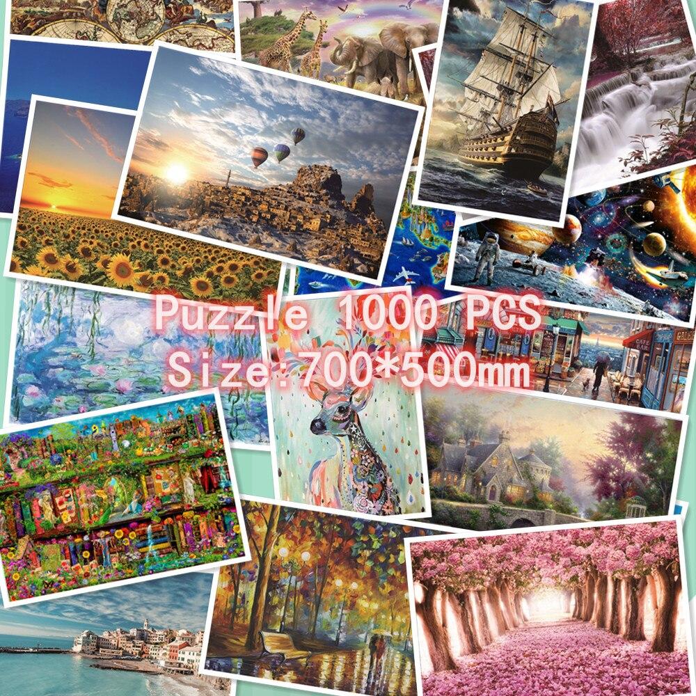 Rompecabezas 1000 piezas niños/adultos descompresión paisaje de dibujos animados juegos de imágenes juguetes educativos regalo de cumpleaños
