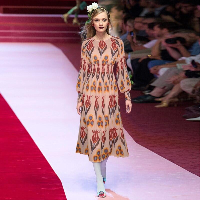 Gedivoen Spring Chiffon Dress O-Neck Lantern Long Sleeve Floral Print Spring Waist High Waist Vintage Ladies Sashes Midi Dresses
