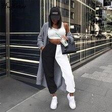 Hugcitar 2019 high waist patchwork sporty harem sweatpants autumn winter women loose casual sporty streetwear trousers
