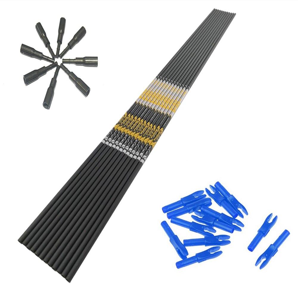 12pcs Archery carbon arrow shaft spine350 400 500 600 700 800 900 ID4.2mm+12pcs arrow nock+12pcs arrow insert for DIY hunting