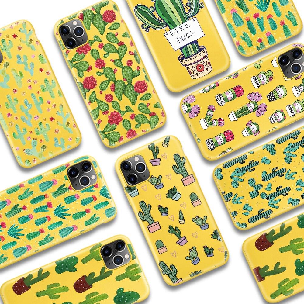 Funda de teléfono ciciber con planta de Cactus bonita para iPhone 11 Pro Max X XR XS Max 7 8 6 6S Plus SE 2020, funda de TPU de silicona blanda amarilla
