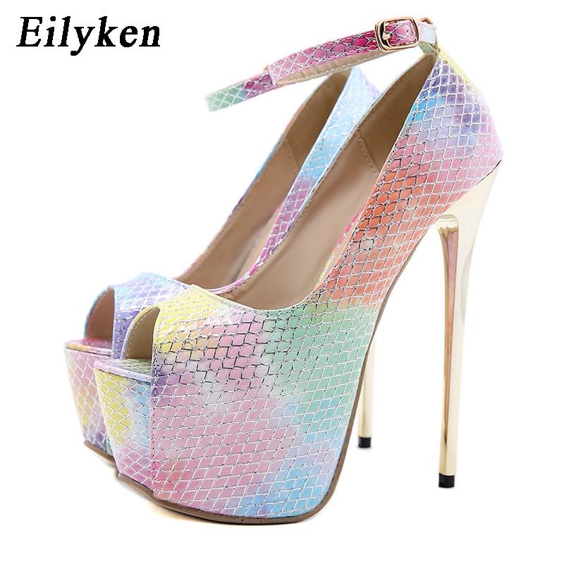 Eilyken-حذاء نسائي بكعب عالٍ من الجلد اللامع ، حذاء نسائي بكعب عالٍ ، لون قوس قزح ، مقدمة مفتوحة ، حزام كاحل بإبزيم ، منصة ، زفاف
