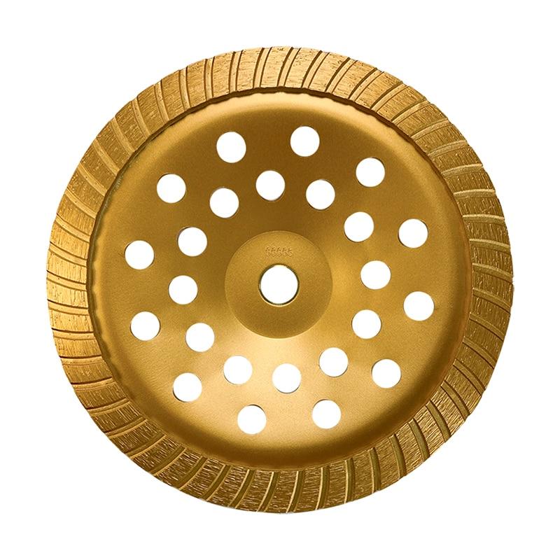 230mm Golden Turbine Diamond Grinding Wheel Disc Bowl Shape Grinding Cup Diamond Chips For Concrete Granite Marble Tools