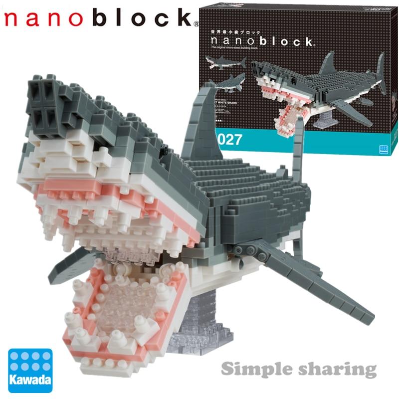 Nanoblock Animais NBM-027 DX Grande Tubarão Branco 680pcs Blocos de Construção de Diamante Criativo Mini Bricks Brinquedo Para Crianças Colecionáveis