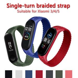 Braided nylon bracelet for xiaomi Mi band 3 and 4, nylon strap for Mi band 5 smart bracelet