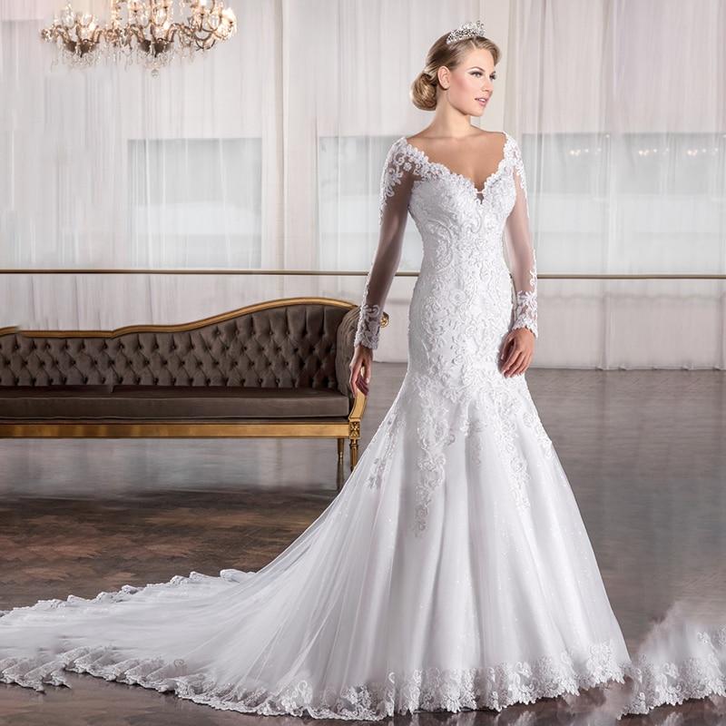 Review MYYBLE Mermaid wedding dress long sleeves appliques beading vestido de noiva sexy v neck dress zipper back abiye gece elbises