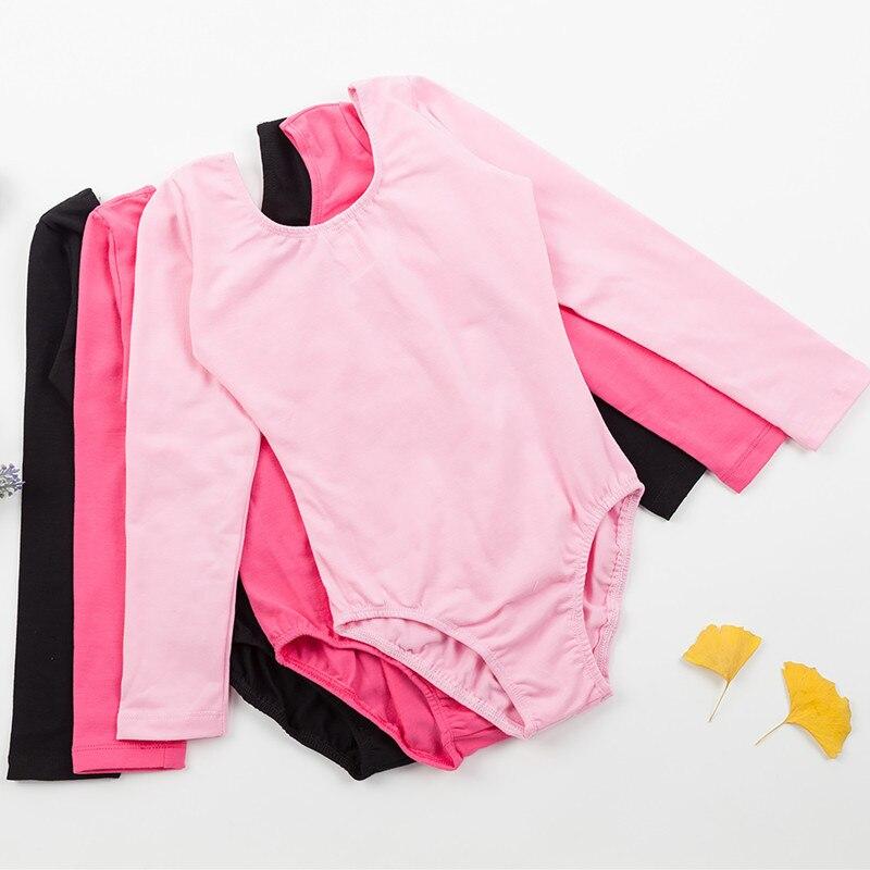 Professional Girls Ballet Leotard Long Sleeve Lovely Dance Wear Toddler Kids Cotton Gymnastics  with Snap Crotch