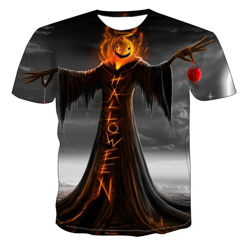 Camisetas para hombre, camisetas de manga corta para hombre, camiseta a la moda con estampado 3d de dibujo de calaveras para hombre, camiseta de Hip Hop, camiseta de calabaza bruja