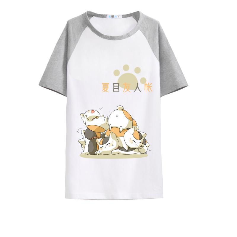 Unisexe Natsume Yuujinchou T-Shirt t-shirt confortable Natsume Nyanko-sensei respirant lâche T-Shirt t-shirt