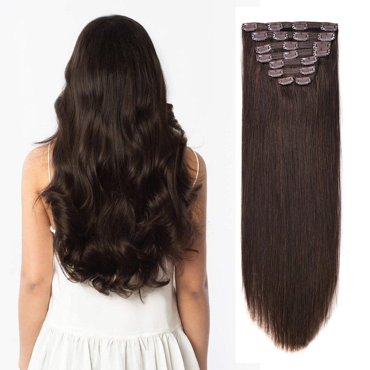 Накладные человеческие волосы BHF с зажимом 100% прямые натуральные Remy полной