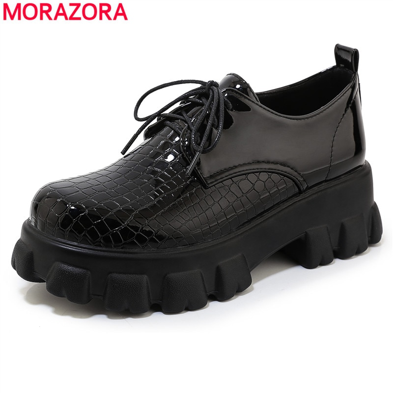 MORAZORA Plus size 33-46 New spring casual platform shoes woman lace up ladies shoes square high heels women pumps