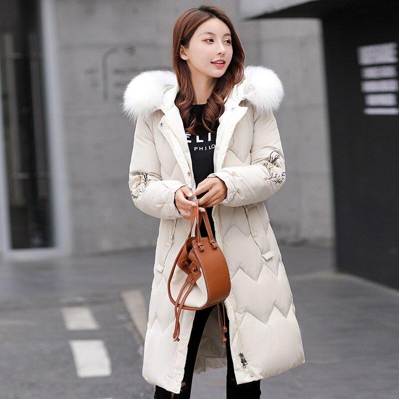Abrigo de nieve de Ucrania, Parkas con Cuello de piel, chaqueta de invierno, moda Vintage, ropa bordada, ropa gruesa de abrigo sólida, Top de gran tamaño