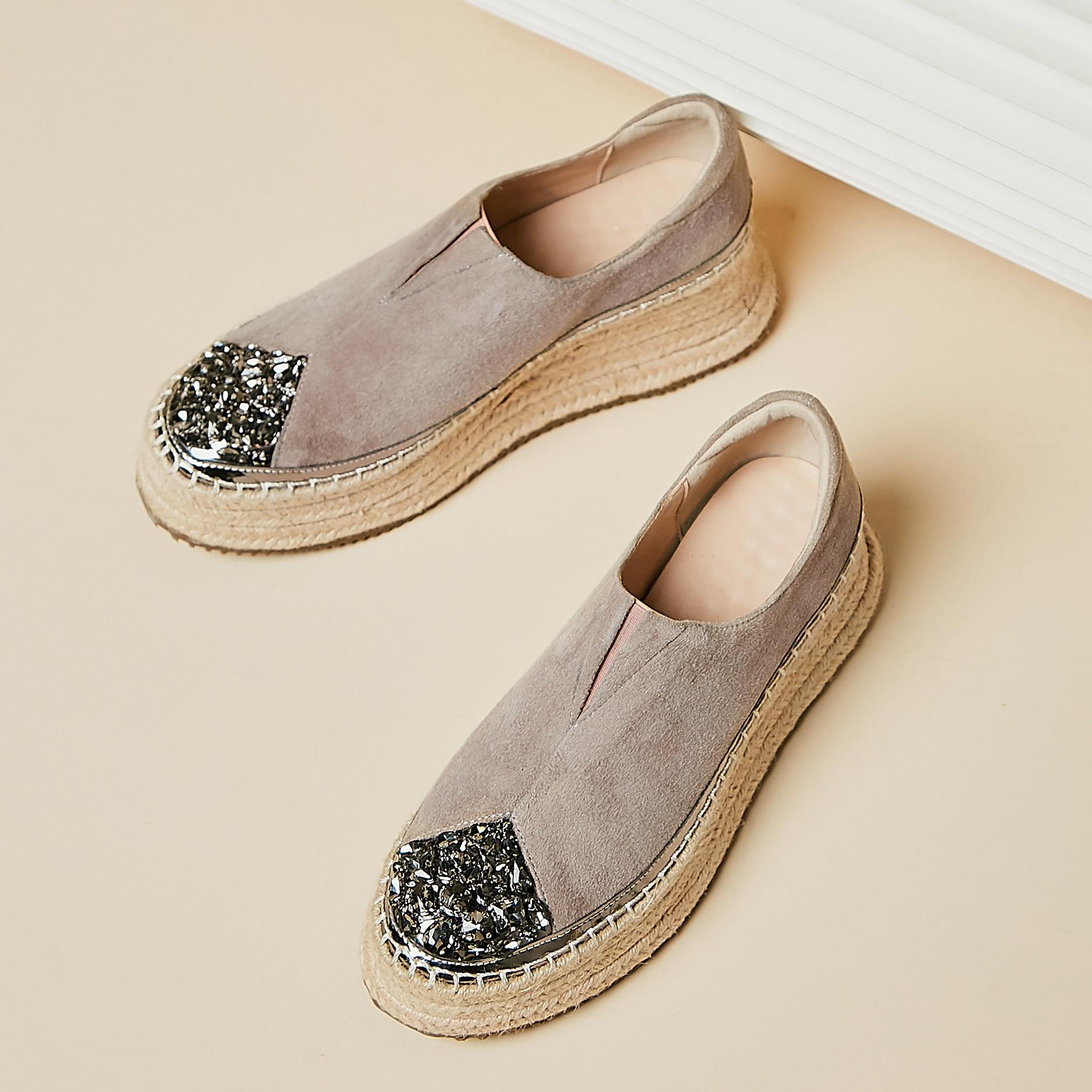Genuino de las mujeres de sueede de diamantes de imitación de cuero del dedo del pie mujer slip-on mocasines plataforma de ocio pisos alpargatas mocasines zapatos mujeres