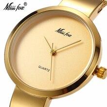 Miss Fox Luxury Gold Quartz Watch Woman Elegant Simple Stainless Steel Mesh Strap Waterproof Wristwatch Relogio Feminino 2190
