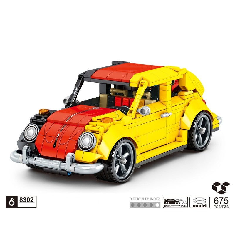 technical germany flag classic das auto Vintage car Beatle building block model bricks pull back vehicle toys collection