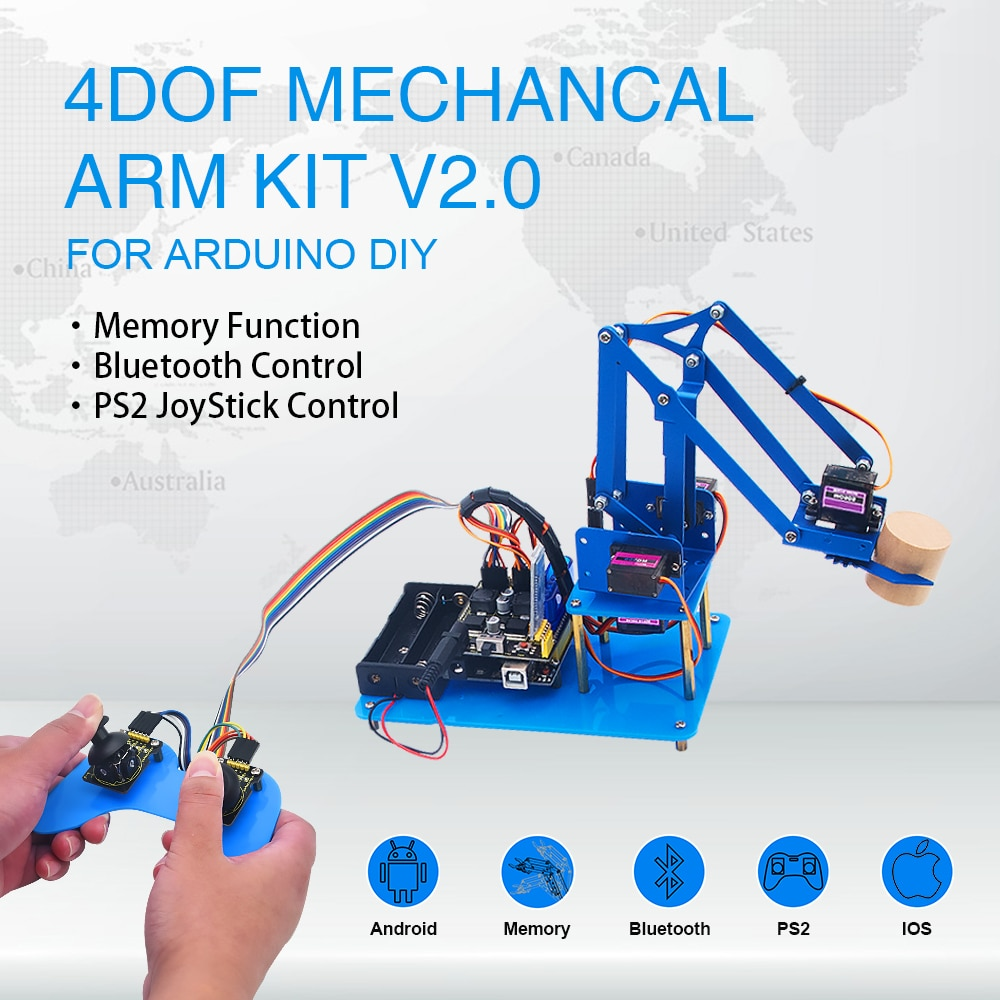 Keyestudio 4DF  Mechanical PS2 Joystick  Metallic Robot Arm Learning  Starter  Kit V2.0 for Arduino DIY недорого