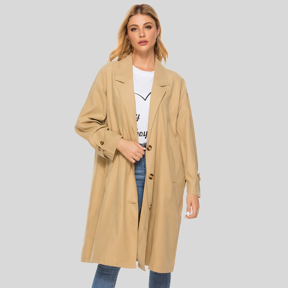 Gabardina de otoño para mujer, abrigos Vintage holgados con bolsillos de gran tamaño y temperamento, abrigo largo cortaviento, prendas de vestir, ropa islámica musulmana