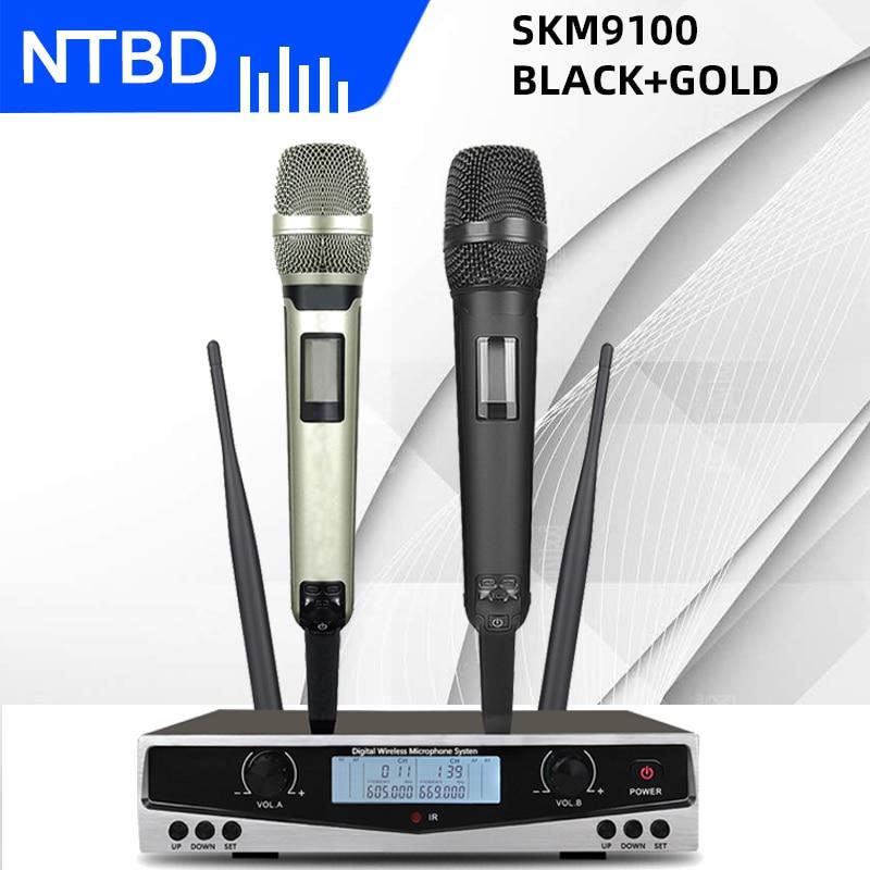 نظام ميكروفون لاسلكي مزدوج احترافي عالي الجودة من NTBD SKM9100 للاستعمال المنزلي KTV للمسافات الطويلة
