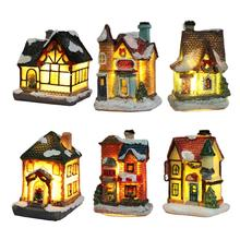 LED 크리스마스 성 집 장식 수 지 교회 및 집 LED 장식 요정 정원 홈 장식 크리스마스 선물 장식