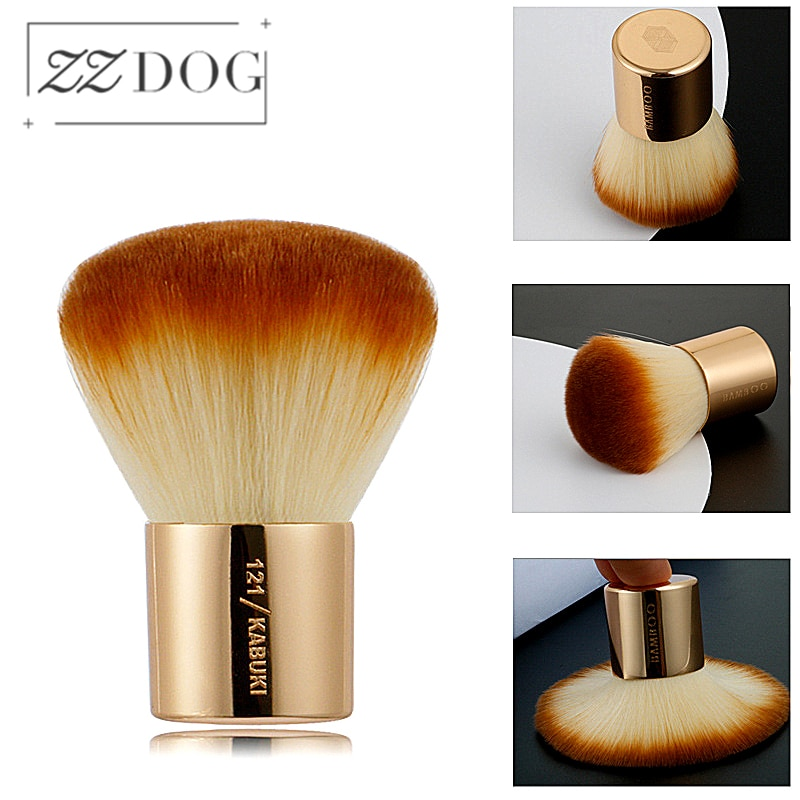 ZZDOG 1Pcs Metal Handle Fluffy Face Powder Blush Brush Golden Portable Makeup Brush Small Champagne